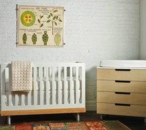 Quarto de bebe incorando ideais de sustentabilidade e ecologia