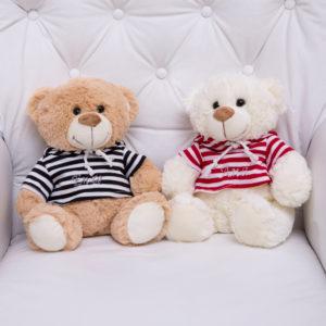 pelucia urso roupa listrada personalizada bebe crianca presente menino menina comprar (e)