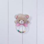 Chocalho urso personalizado menina rosa bebe comprar