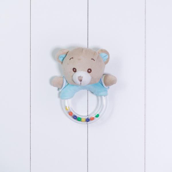 Chocalho urso personalizado menino azul bebe comprar