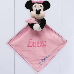 Presente para bebê barato - naninha da minnie personalizada com nome do bebê