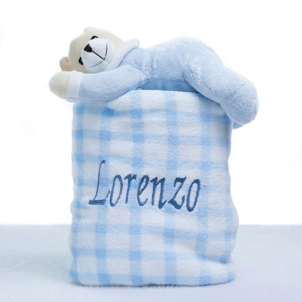 Manta com pelucia cachorro azul bebe presente personalizado comprar menino 2 (e)