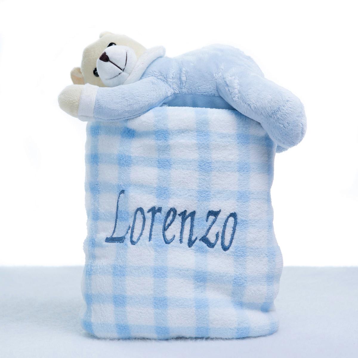 Manta felpuda azul e ursinho meu mundo personalizado - Comprar cambiador bebe ...