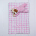 Manta com pelucia cachorro rosa bebe presente personalizado comprar menina 2 (e)