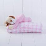 Manta com pelucia cachorro rosa bebe presente personalizado comprar menina 3 (e)