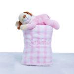 Manta com pelucia cachorro rosa bebe presente personalizado comprar menina (e)