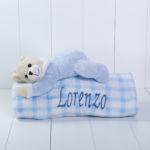 Manta com pelucia urso azul bebe presente personalizado comprar menino 3 (e)