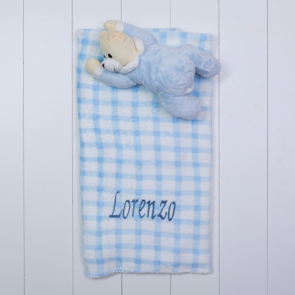 Manta com pelucia urso azul bebe presente personalizado comprar menino menina (e)