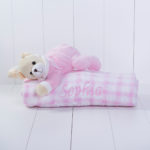 Manta com pelucia urso rosa bebe presente personalizado comprar menina 3 (e)