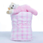 Manta com pelucia urso rosa bebe presente personalizado comprar menina (e)
