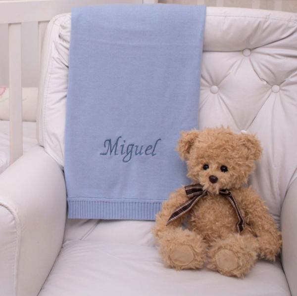 Manta fio azul claro com urso ingles presente bebe personalizado comprar (e)