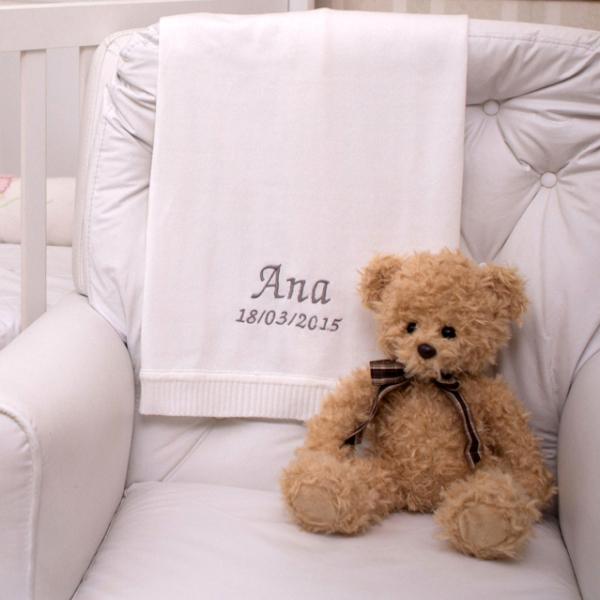 Manta fio branca com urso ingles presente personalizado bebe comprar (e)