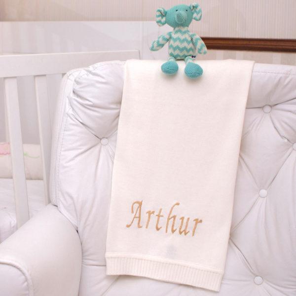 Manta fio natural e elefantinho presente personalizado bebe comprar