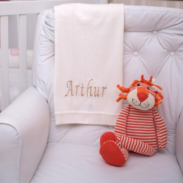 Manta fio natural e leao tricot presente personalizado bebe comprar