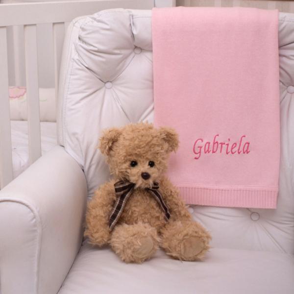 Manta fio rosa e urso ingles presente personalizado bebe comprar (e)