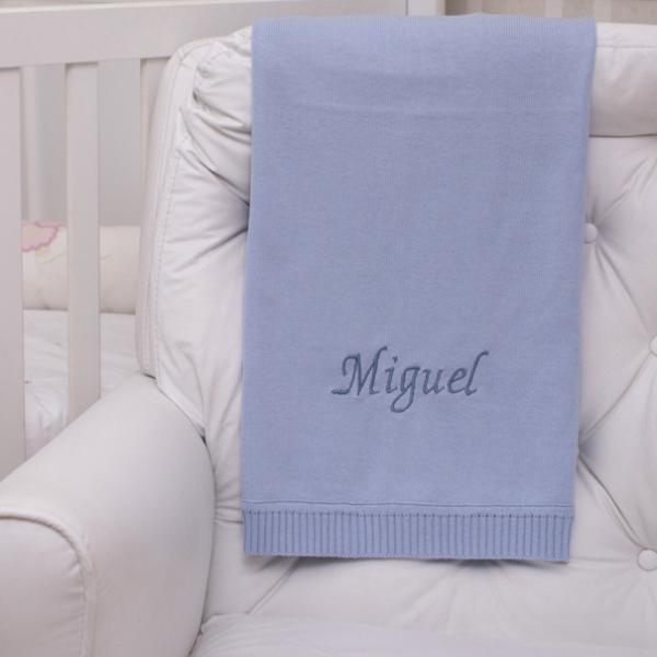 Manta fio tricot azul claro presente bebe personalizado comprar (e)