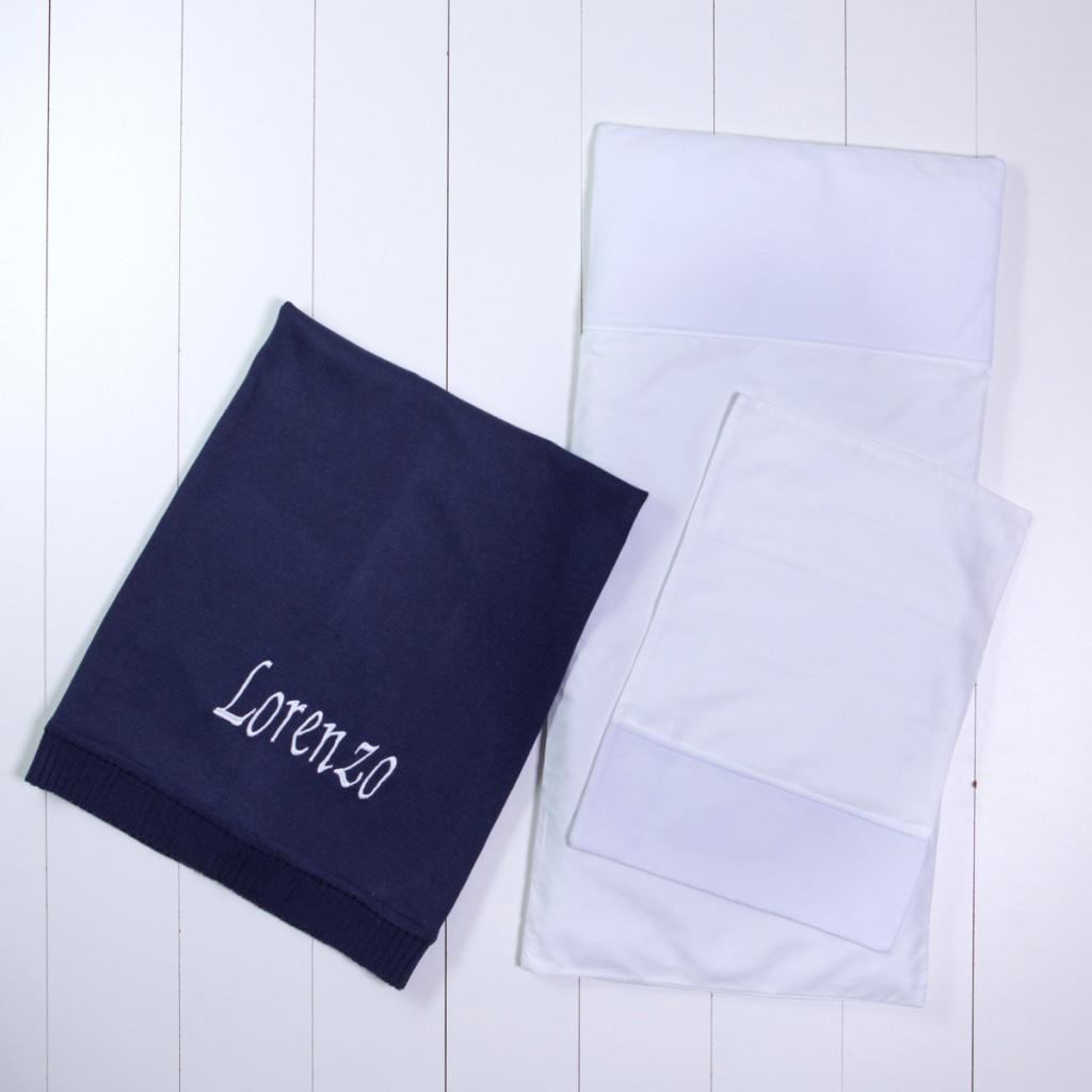 Manta fio tricot azul colchenete travesseiro carrinho presente personalizado bebe comprar