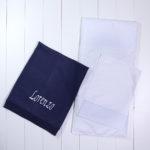 Manta fio tricô marinho colchonete travesseirinho carrinho bebê presente personalizado maternidade chá dia crianças especial único