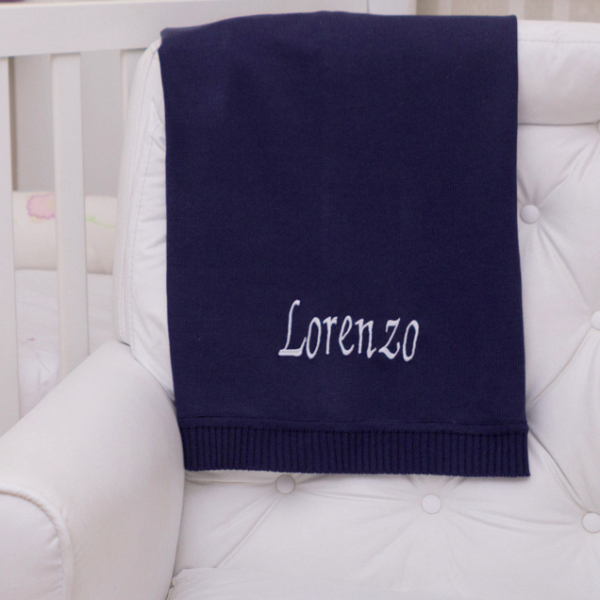 Manta fio tricot azul marinho menino bebe presente personalizado comprar