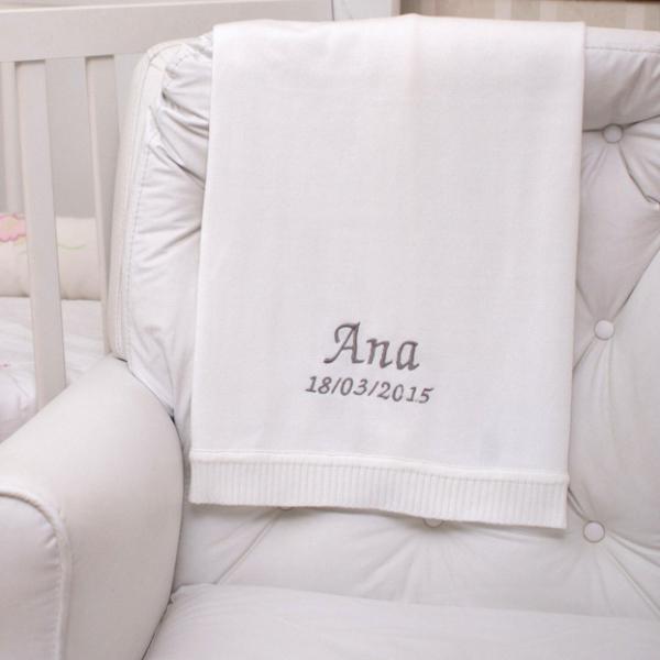 Manta fio tricot branca menina menino bebe presente personalizado comprar(e)