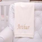 Manta fio tricot natural presente personalizado bebe comprar (e)