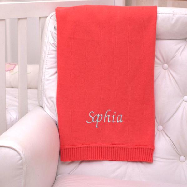 Manta fio tricot papoula bebe presente personalizado menina comprar (e)