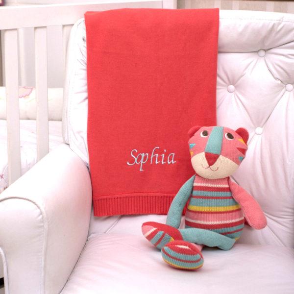Manta fio tricot papoula com gata tricot presente personalizado bebe comprar (e)