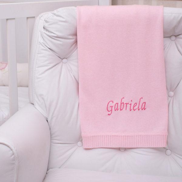 Manta fio tricot rosa marinho menina bebe presente personalizado comprar (e)