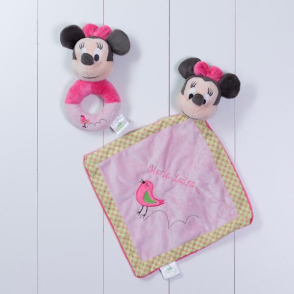 Naninha cheirinho soninho e chocalho Minnie Disney personalizada rosa menina bebe comprar