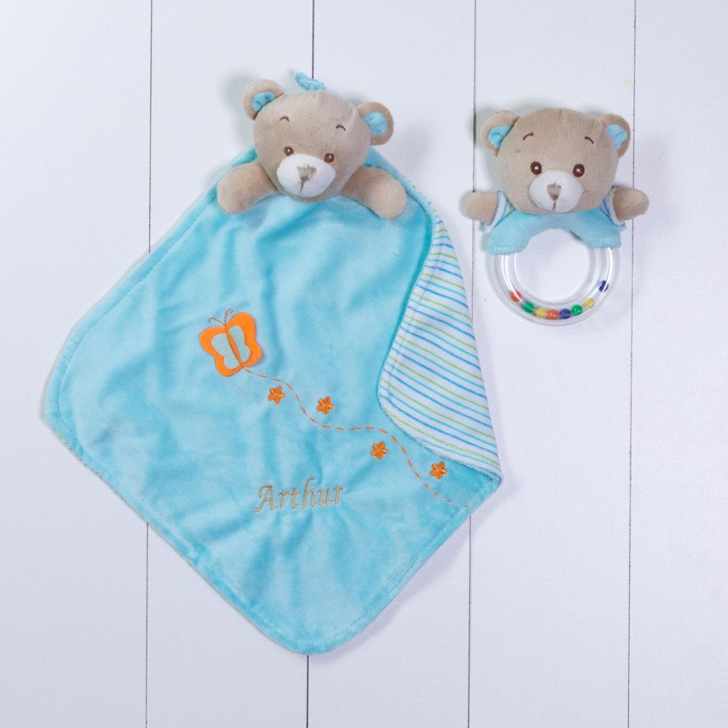 Naninha cheirinho soninho e chocalho urso personalizado azul menino bebe comprar (e)