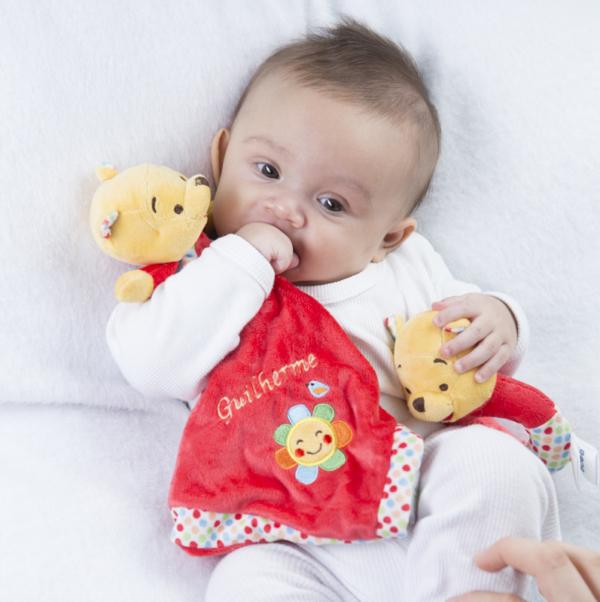 Naninha e chocalho Dusney ursinho Pooh personalizado bebe presente comprar