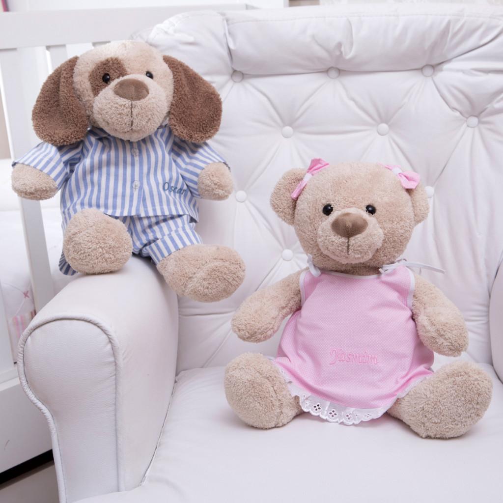 Pelucia  cachorro urso pijama personalizado comprar presente bebe crianca (e)