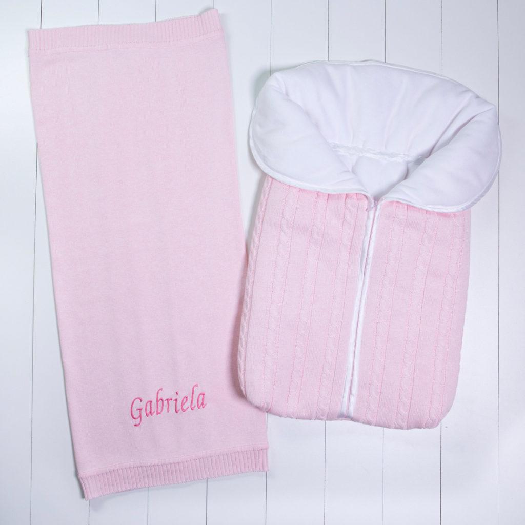 Saco dormir e manta fio bebe personalizado menina rosa comprar (e)