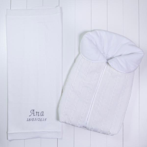 Saco dormir e manta fio bebe personalizado menino menina branco comprar (e)