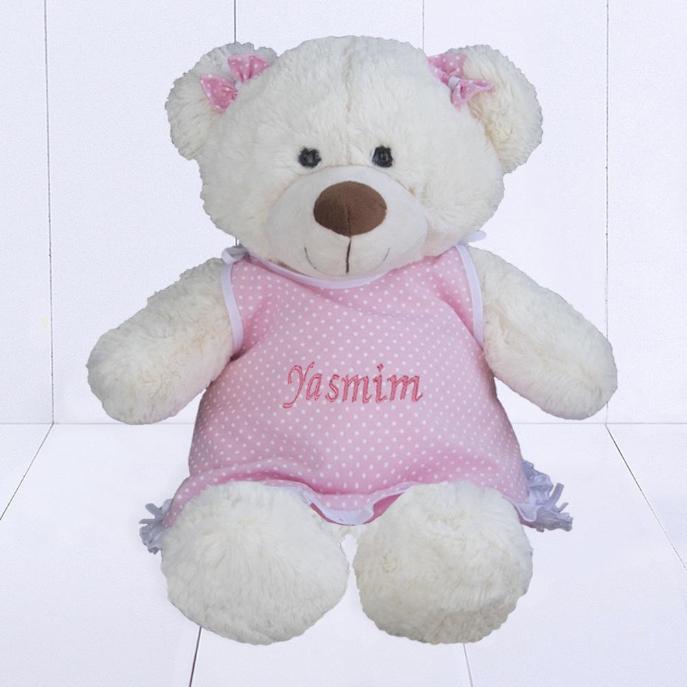 Presente para bebê rec-em-nascido menina - urso de pelúcia personalizado