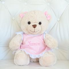 Ursa de pelucia de camisola personalizada para presentear bebes e criancas
