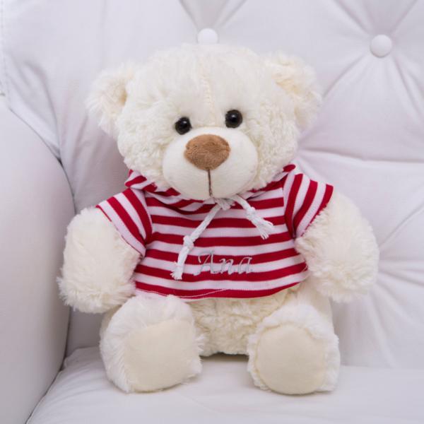 pelucia urso roupa listrada personalizada bebe crianca presente menina comprar (e)
