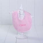 Babador malha luxo bebe menina rosa personalizado comprar (e)