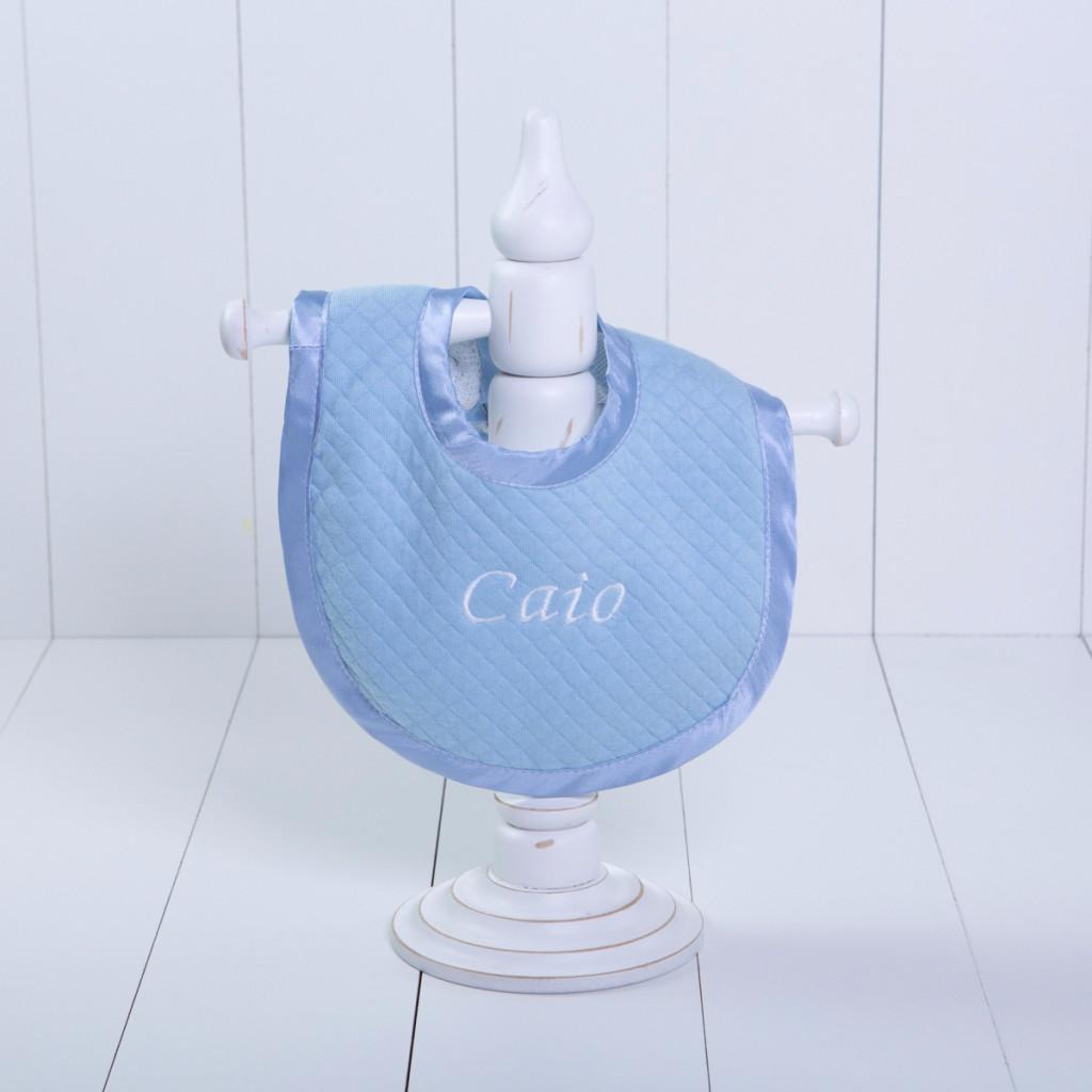 Babador malha luxo bebe menino azul personalizado comprar (e)
