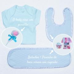 Body bebe, babador e fralda de boca parte da cesta para recém nascido