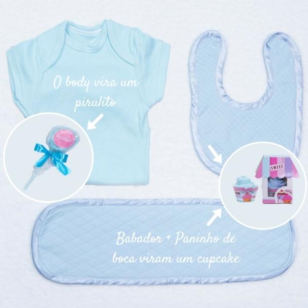 Body, babador e paninho de boca com cupcake e pirulito para cestas e kits bebe