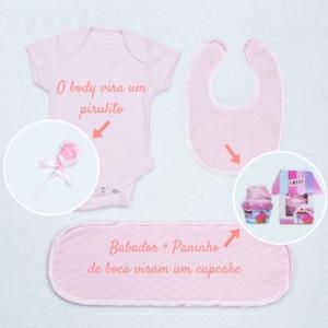 Itens da cesta bebe rosa body babador e toalhinha de boca