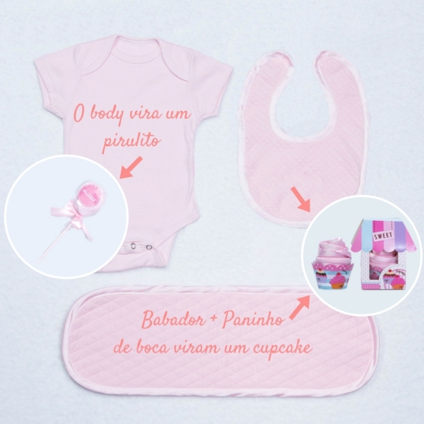Body, babador e paninho de boca com cupcake e pirulito para cestas e kits bebe – rosa