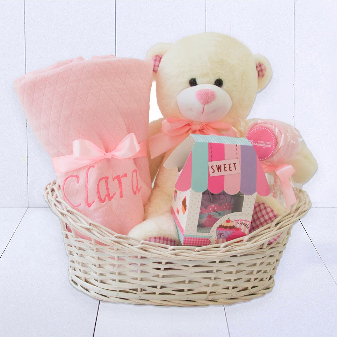Cesta maternidade rosa para presentear mamães e bebês no hospital