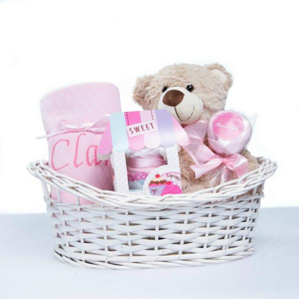 Cesta urso manta babador body personalizada menina bebe recem-nascido rosa(e) 2