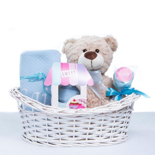 Cesta urso manta babador body personalizada menino bebe recem-nascido azul (e)