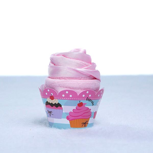 Babador e babeiro de bebe em forma de cupacake rosa
