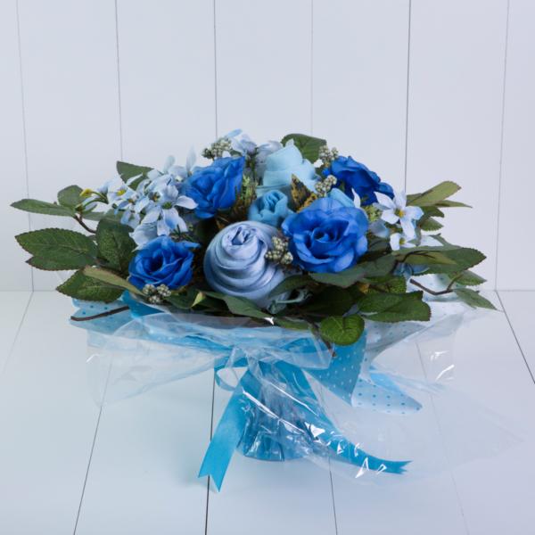 Bouquet roupinha bebe body meia babador presente personalizado maternidade nascimento azul menino comprar (2)