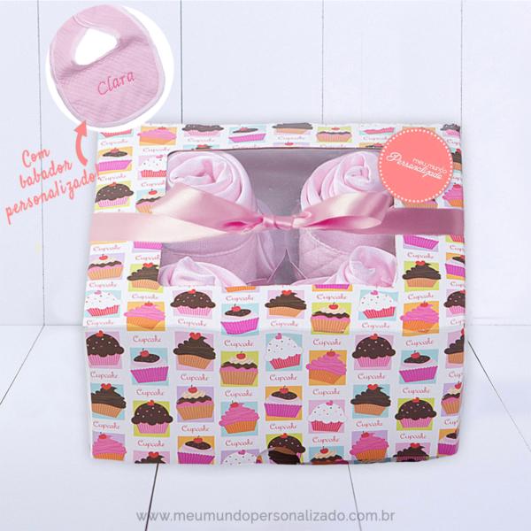 Caixa 4 cupcakes ROSA meninas com laco