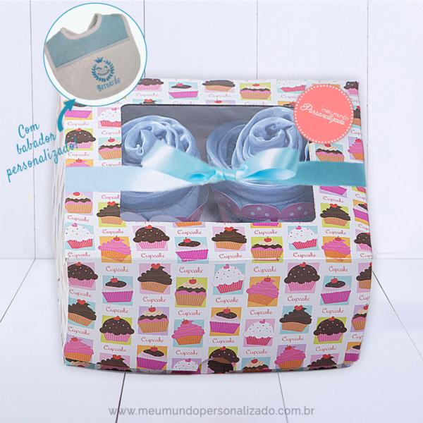 Kit presente bebe com 4 cupcakes mini enxoval